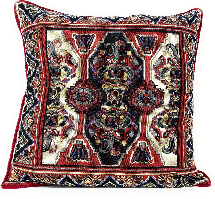 "DaDalogy Bedding Elegant Majestic Red Persian Rug Damask Tapestry Throw Pillow Covers 16"" (18195)"