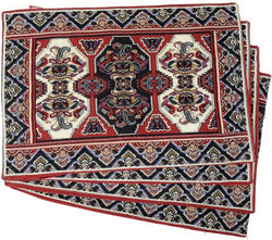 "DaDalogy Bedding Majestic Red Persian Rug Placemats, Set of 4 Woven Tapestry 13"" x 19"" (18195)"