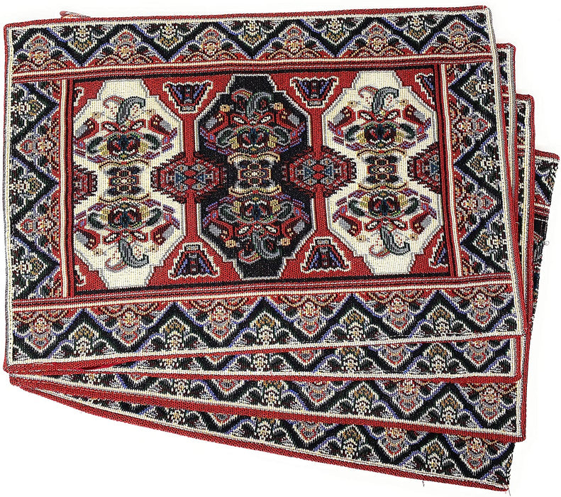 "DaDalogy Set of 4 Majestic Kilim Red Persian Rug Woven Tapestry Placemats 13"" x 19"" (18195)"