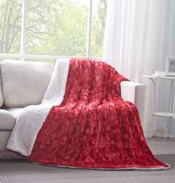 DaDa Bedding Luxury Hearts in Love Plush Faux Fur Sherpa Fleece Throw Blanket, Pomegranate Red (19)