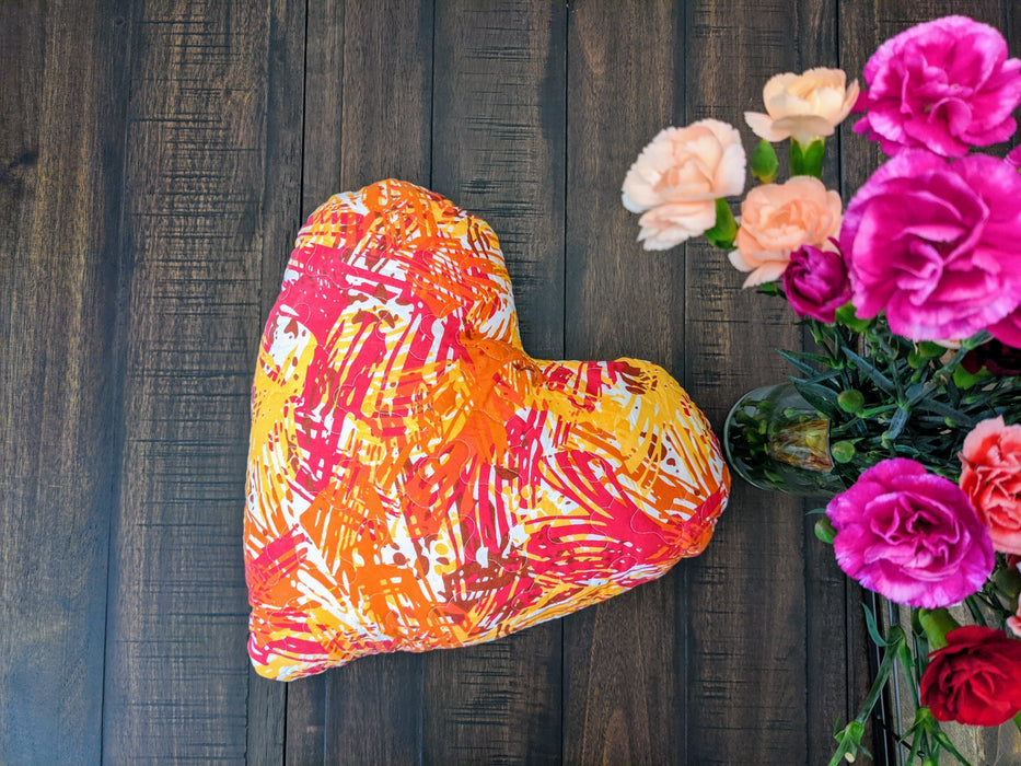 "Throw Pillow - DaDa Bedding Hand-Made Sewn Heart Shaped Reversible Lovely Pop of Color Throw Pillow - 16"" x 14"" - DaDa Bedding Collection"