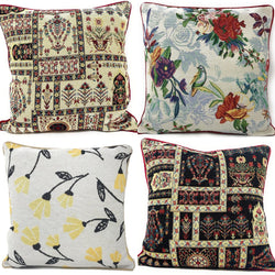 "DaDa Bedding Set of 4 Pieces - Floral Garden Botanical Tapestry Throw Pillow Covers Bundle Pack - 16"" x 16"""