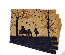 "DaDalogy Bedding Set of 4 PCs Autumn Breeze Family Gathering Blessing Tapestry Placemats 13"" x 19"" (18198)"