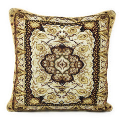 "CUSHION COVER - DaDa Bedding Elegant Golden Opulence Floral Damask Tapestry Throw Pillow Covers 16"" (18119) - DaDa Bedding Collection"