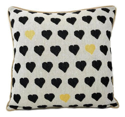 "CUSHION COVER - DaDa Bedding Lovely Black and Yellow Polka Hearts Tapestry Throw Pillow Covers 16"" (18113) - DaDa Bedding Collection"