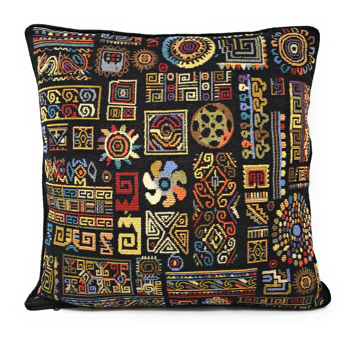 "CUSHION COVER - DaDa Bedding Ethnic Ornaments Geometric Black Tapestry Throw Pillow Covers 16"" (18118) - DaDa Bedding Collection"