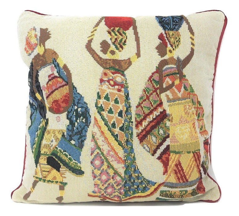 "CUSHION COVER - DaDa Bedding Dancing Women African Dreams Tapestry Throw Pillow Covers 16"" (18117) - DaDa Bedding Collection"