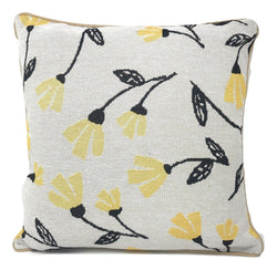 "CUSHION COVER - DaDa Bedding Fresh Sunshine Yellow Fleur Floral Tapestry Throw Pillow Covers 16"" (18112) - DaDa Bedding Collection"