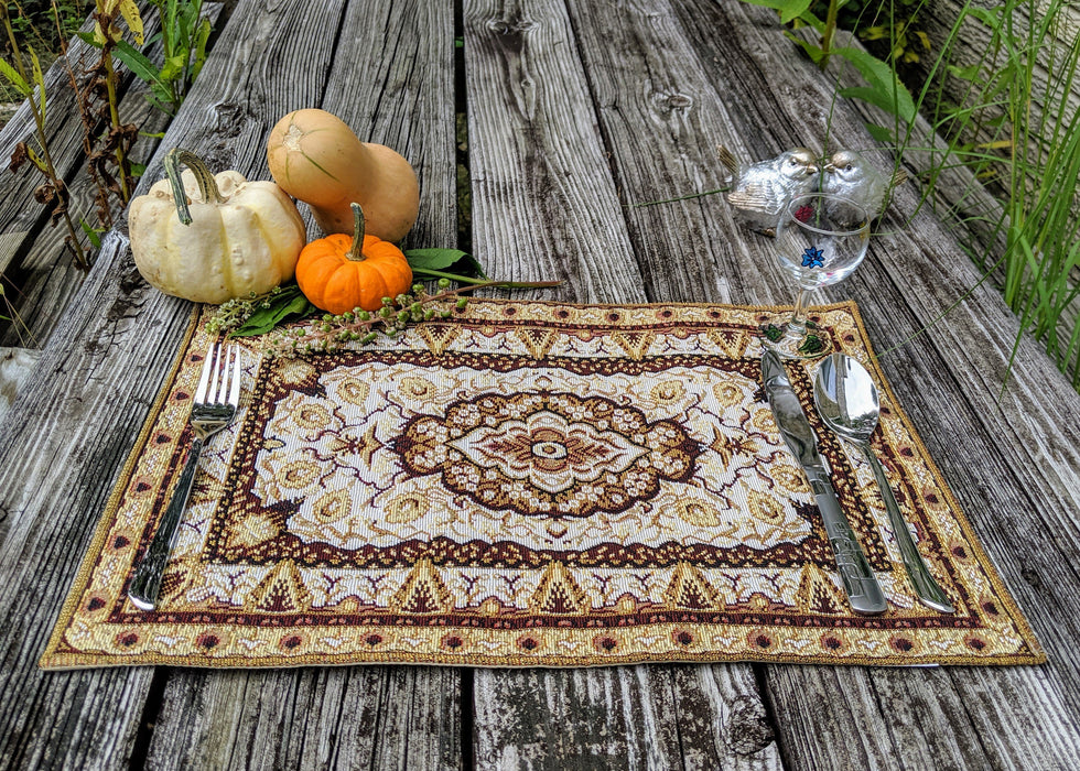 "Placemat - DaDa Bedding Royal Persian Rug Golden Floral Placemats, Set of 4 Tapestry 13"" x 19"" (18119) - DaDa Bedding Collection"