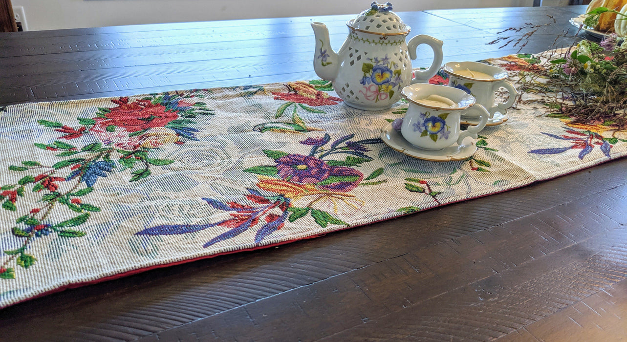 TABLE RUNNER - DaDa Bedding Elegant Woven Tapestry Table Runner, Tropical Paradise Floral Birds (18116) - DaDa Bedding Collection