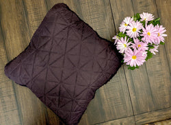 "Throw Pillow - DaDa Bedding Hand-Made Eggplant Purple Sherpa Backside Quilted Throw Pillow - 18"" x 18"" - DaDa Bedding Collection"