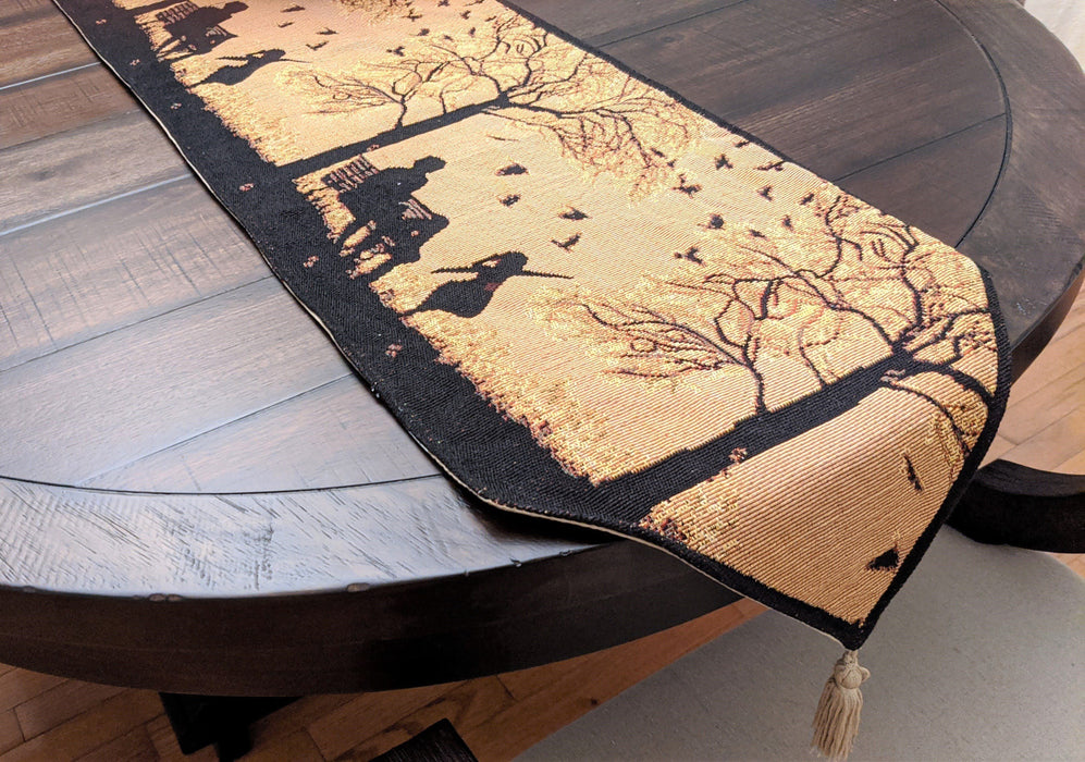 DaDalogy Bedding Woven Tapestry Table Runner, Autumn Breeze Family Gathering Blessing (18198)