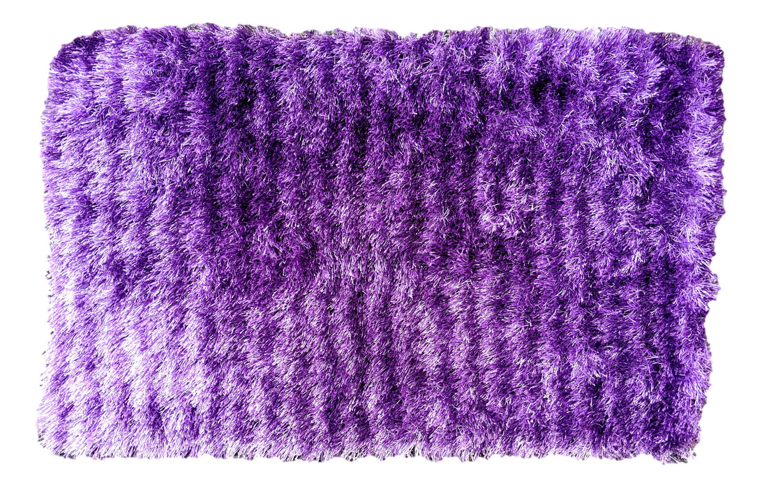 "DaDa Bedding Shaggy Soft Door Mat Carpet Rug - 20"" x 32"" Striped Shiny Purple Lavender"