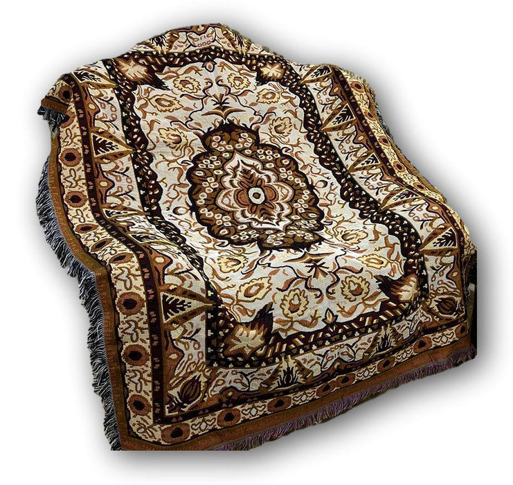 "BLANKET - DaDa Bedding Elegant Tapestry Throw Blanket, Golden Persian Rug Floral - 50"" x 60"" (7175) - DaDa Bedding Collection"