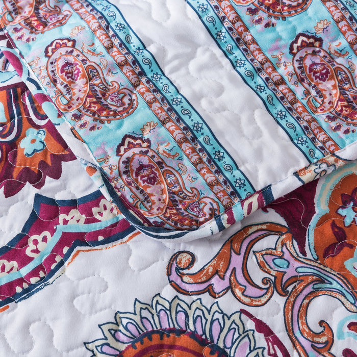 Bedspread - DaDa Bedding Bohemian Coconut White Sky Beach Vibes Floral Paisley Bedspread Set (KSX-003) - DaDa Bedding Collection
