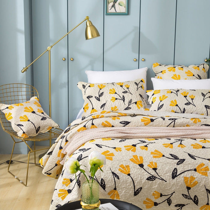 DaDa Bedding Fresh Sunshine Yellow Fleur Floral Ivory Cream Scalloped Bedspread Set (18112)