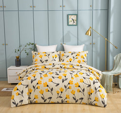 DaDa Bedding Fresh Sunshine Yellow Fleur Floral Duvet Cover Set w/ Pillow Cases (18112)