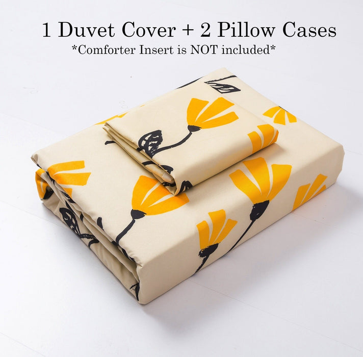 DaDa Bedding Fresh Sunshine Yellow Fleur Floral Ivory Cream Duvet Cover Set w/ Pillow Cases (18112)