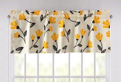 "DaDa Bedding Fresh Sunshine Yellow Fleur Ivory Window Curtain Valance - 18"" x 52"" (18112)"