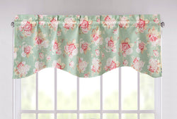 "DaDa Bedding Hint of Mint Floral Light Green Roses Window Curtain Valance - 18"" x 52"" (JHW-3036)"