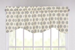 "DaDa Bedding Ivory Blue Elegance Mini Medallions Floral Window Curtain Valance - 18"" x 52"" (JHW-660)"