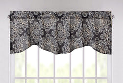 "DaDa Bedding Navy Denim Blue Elegance Medallions Floral Window Curtain Valance - 18"" x 52"" (JHW-660)"