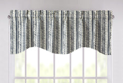 "DaDa Bedding Denim Blue Elegance Striped Floral Window Curtain Valance - 18"" x 52"" (JHW-660)"