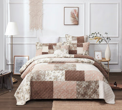 DaDa Bedding Vintage Cottage Patchwork Muted Dusty Tea Rose Mauve & Brown Floral Quilted Bedspread Set (JHW-866)