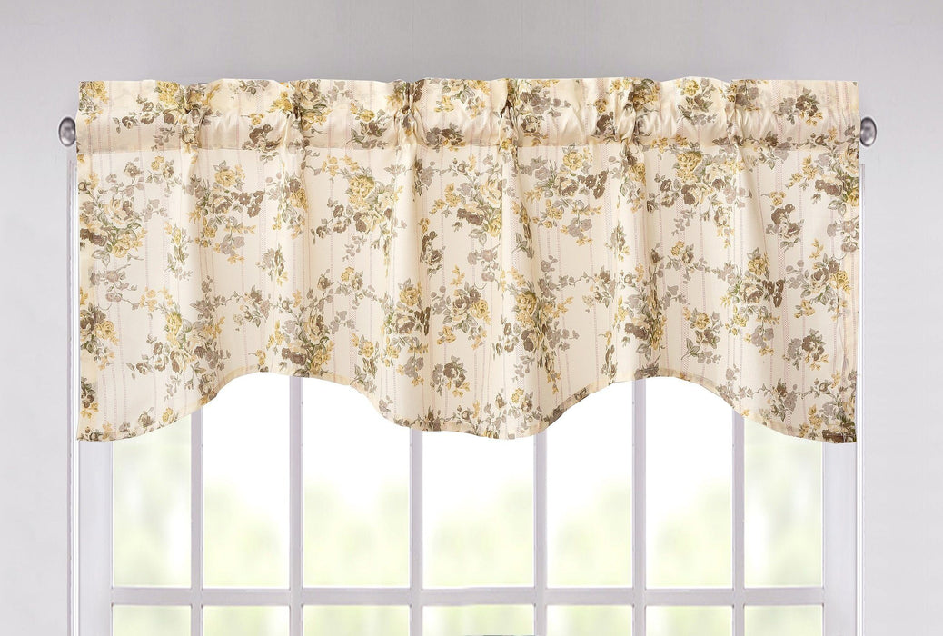 "DaDa Bedding Vintage Dainty Yellow Floral Cottage Window Curtain Valance - 18"" x 52"" (JHW-866)"