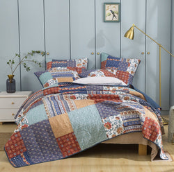 DaDa Bedding Bohemian Vibes Patchwork Quilted Bedspread Set, Mediterranean Floral (JHW878)