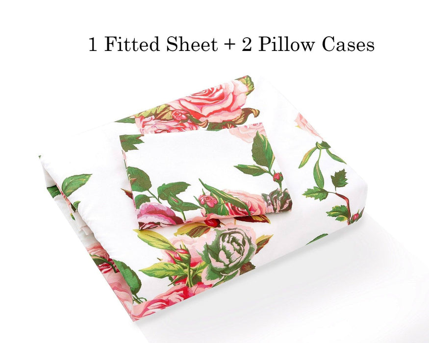 DaDa Bedding Romantic Roses Lovely Spring Pink Floral Fitted Bed Sheet w/ Pillow Cases Set (JHW879-Fitted)