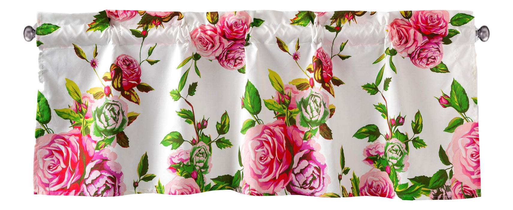 "DaDa Bedding Romantic Roses Pink Floral Window Curtain Valance - 18"" x 52"" (JHW-879)"