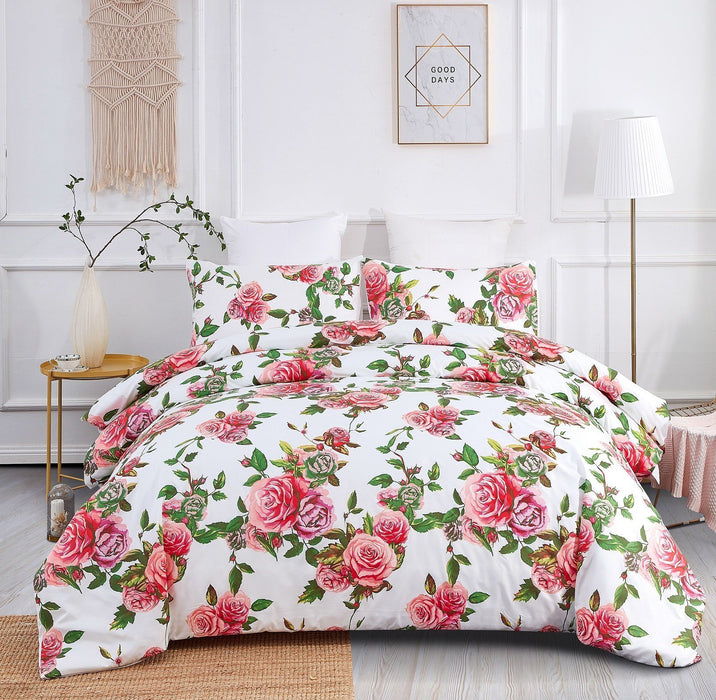 DUVET COVER - DaDa Bedding Romantic Roses Lovely Spring Pink Floral Duvet Cover Set w/ Pillow Cases (JHW-879) - DaDa Bedding Collection