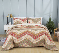 DaDa Bedding Botanical Cranberry Sage Chevron Floral Duvet Cover Set w/ Pillow Cases (JHW-924)