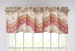 "DaDa Bedding Rustic Cranberry Sage Chevron Floral Window Curtain Valance - 18"" x 52"" (JHW-924)"