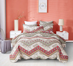 DaDa Bedding Rustic Bohemian Patchwork Cranberry Sage Chevron Floral Bedspread Set (JHW-924)