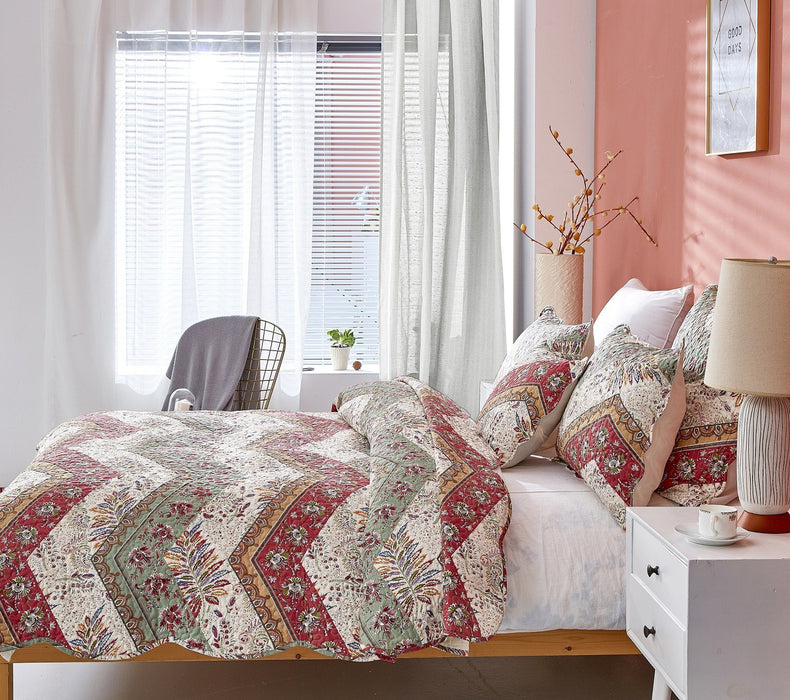 Bedspread - DaDa Bedding Rustic Bohemian Patchwork Cranberry Sage Chevron Floral Bedspread Set (JHW-924) - DaDa Bedding Collection