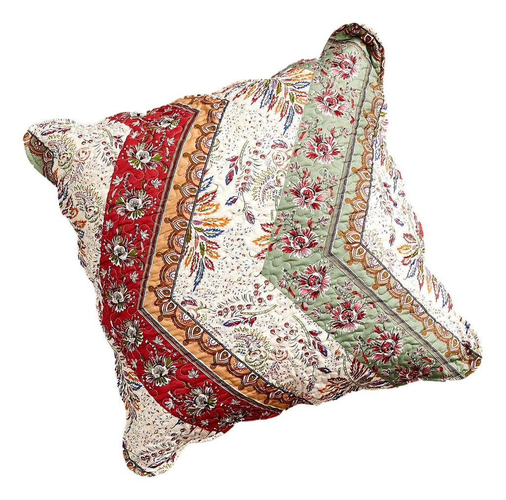 Dada Bedding Bohemian Cranberry Sage Chevron Floral Euro Pillow Sham C Dada Bedding Collection
