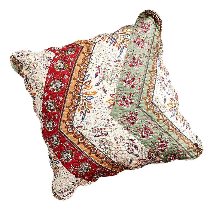 "CUSHION COVER - DaDa Bedding Bohemian Patchwork Cranberry Sage Chevron Floral Euro Pillow Sham Cover, 26"" x 26"" (JHW924) - DaDa Bedding Collection"
