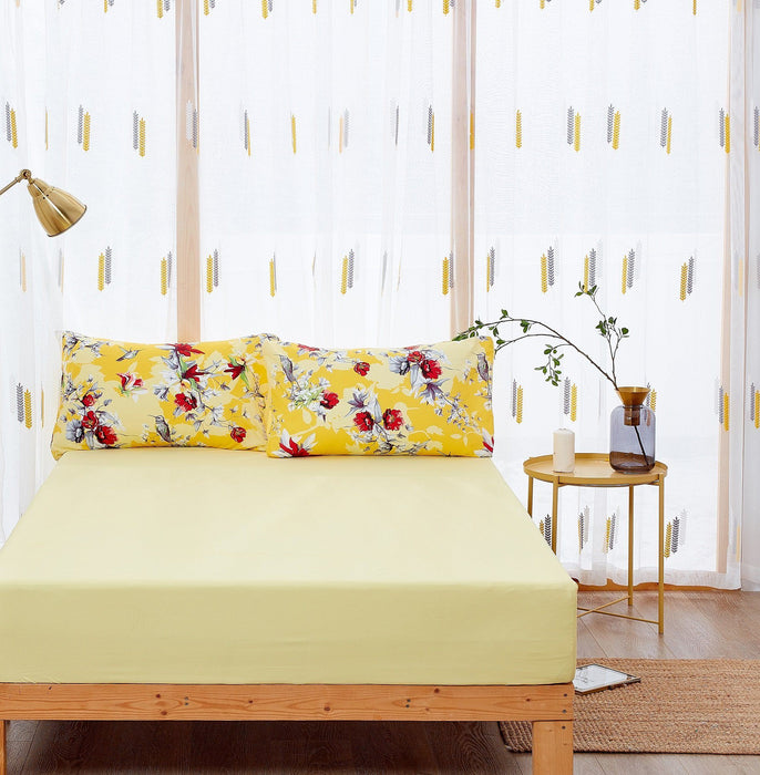 DaDa Bedding Sunshine Yellow Hummingbirds Floral Fitted & Flat Bed Sheets Set (JHW-925)