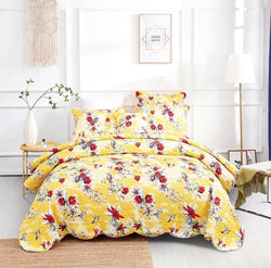 DaDa Bedding Radiant Sunshine Yellow Hummingbirds Floral Scalloped Bedspread Set (JHW-925)