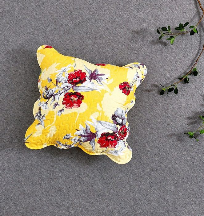 "CUSHION COVER - DaDa Bedding Set of 2 Sunshine Yellow Hummingbirds Floral Scalloped Throw Pillow Covers, 18"" (JHW925) - DaDa Bedding Collection"