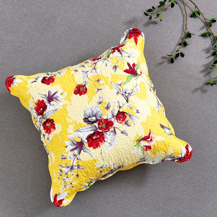 "CUSHION COVER - DaDa Bedding Sunshine Yellow Hummingbirds Floral Scalloped Euro Pillow Sham Cover, 26"" x 26"" (JHW925) - DaDa Bedding Collection"