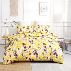 DUVET COVER - DaDa Bedding Sunshine Yellow Hummingbirds Floral Duvet Cover Set w/ Pillow Cases (JHW-925) - DaDa Bedding Collection