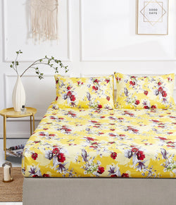 Fitted Sheet - DaDa Bedding Sunshine Yellow Hummingbirds Floral Fitted Bed Sheet Set w/ Pillow Cases (JHW-925) - DaDa Bedding Collection