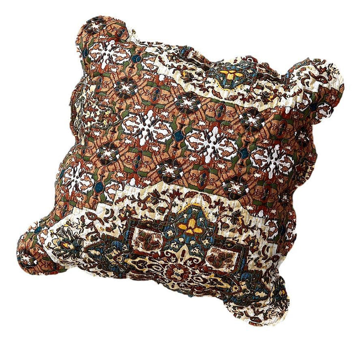 "CUSHION COVER - DaDa Bedding Set of 2 Rustic Earthy Cross Motif Folk Style Scalloped Throw Pillow Covers, 18"" (JHW944) - DaDa Bedding Collection"