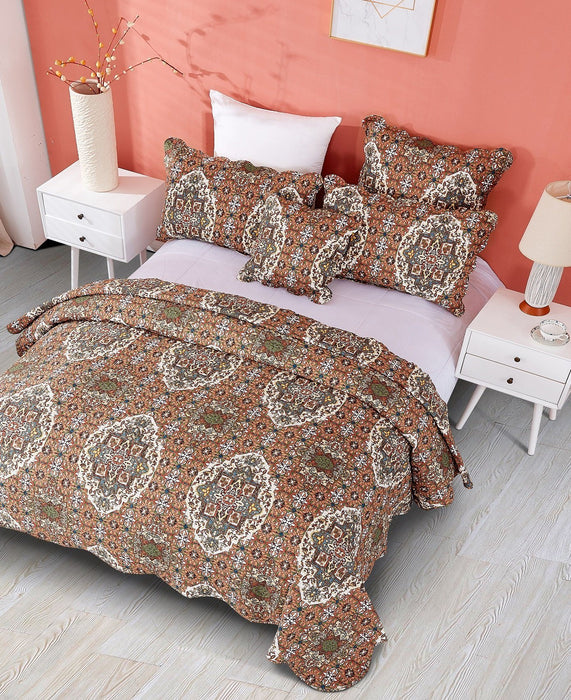Bedspread - DaDa Bedding Rustic Earthy Cross Motif Folk Style Scalloped Quilted Bedspread Set (JHW-944) - DaDa Bedding Collection