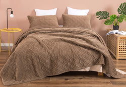 DaDalogy Bedding Coffee Spice Brown Corduroy Bedspread Set - Queen Size (JHW-952)
