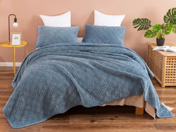 DaDalogy Bedding Slate Blue Grey Corduroy Bedspread Set - Queen Size (JHW-952)