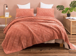 DaDalogy Bedding Mythic Terracotta Orange Corduroy Bedspread Set - Queen Size (JHW-952)